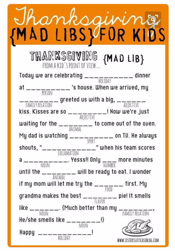 photograph about Thanksgiving Mad Libs Printable called Nuts Libs I Enjoy Brl (Braille)